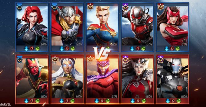 Screenshot of a the Versus screen for a game of MARVEL Super War