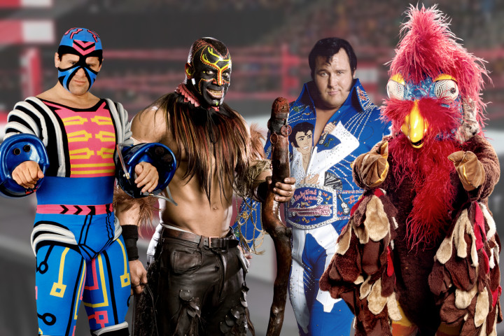 Some of WWE's characters (Left to Right); Max Moon, The Boogeyman, The Honky Tonk Man, and The Gobbledy Gooker