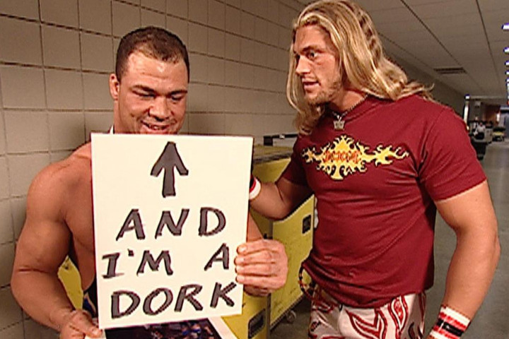 WWE Superstars Kurt Angle (Left) and Edge (Right) hanging out backstage