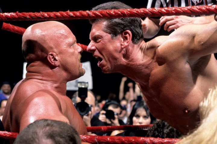 WWE Owner Vince McMahon getting in the face of WWE Superstar 'Stone Cold' Steve Austin