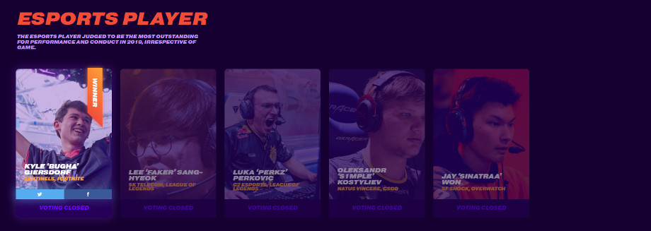 Screencap of the 'Esports Player' nominees from The Game Awards
