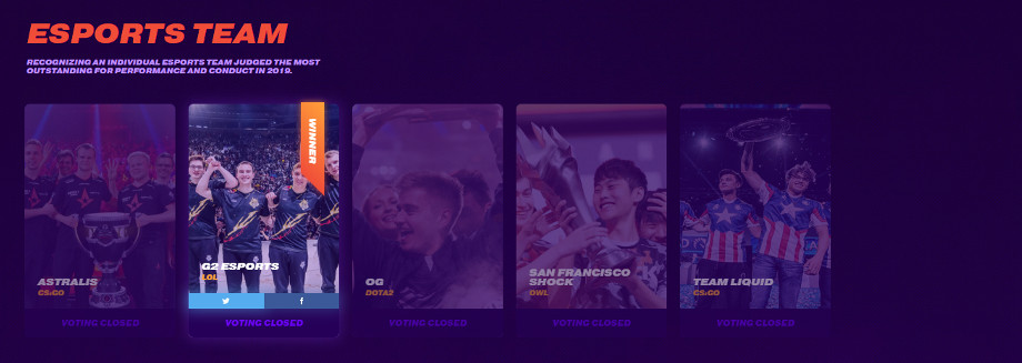 Screencap of the 'Esports Team' nominees from The Game Awards