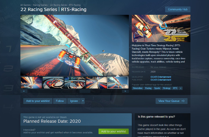 Steam Store page for 22 Racing Series